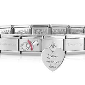Classic Silver Pink Dummy Engravable Charm Bracelet