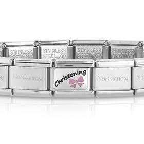 Classic Silver Pink Christening Charm Bracelet
