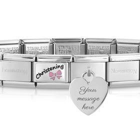 Classic Silver Pink Christening Engravable Heart Charm Bracelet
