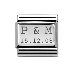 Classic Silver Initials & Date Charm
