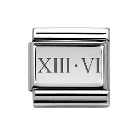 Classic Silver Roman Numeral Date Charm