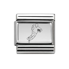 Classic Silver Rugby Player Charm