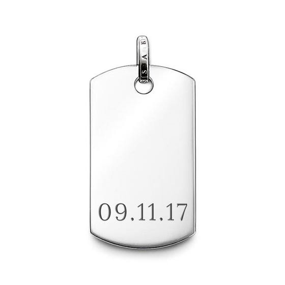 Rebel at Heart Silver Date Dog Tag Pendant