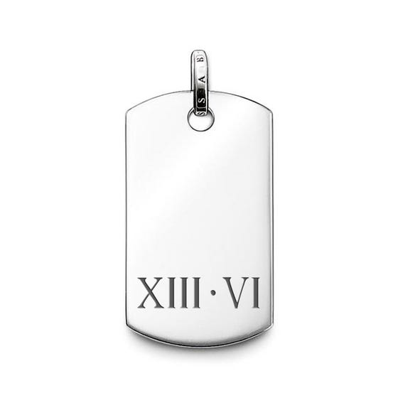 Rebel at Heart Silver Roman Numeral Date Dog Tag Pendant