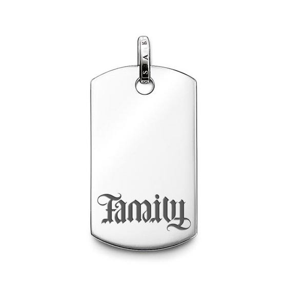 Rebel at Heart Silver Family Dog Tag Pendant