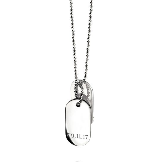 Stainless Steel Date Oval Dog Tag Necklace