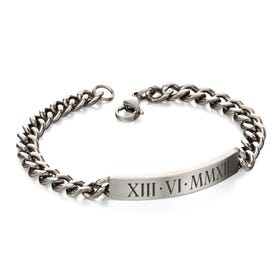 Stainless Steel Roman Numeral Date Brushed ID Bracelet