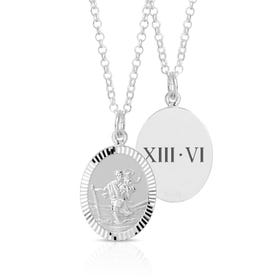 Silver Roman Numeral Date St Christopher Necklace