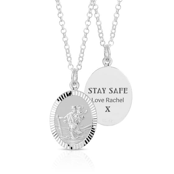 Silver Personalised Stay Safe St Christopher Necklace