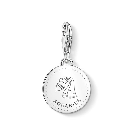 Charm Club Silver Aquarius Zodiac Disc Charm