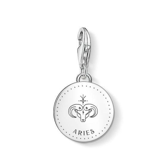 Charm Club Silver Aries Zodiac Disc Charm