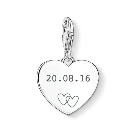 Charm Club Silver Date With Hearts Charm