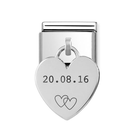 Classic Silver Date with Hearts Pendant Charm