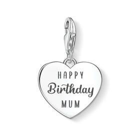 Charm Club Silver Happy Birthday Mum Heart Charm