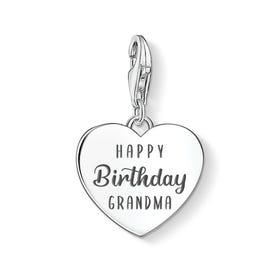 Charm Club Silver Happy Birthday Grandma Heart Charm
