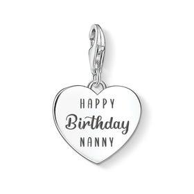 Charm Club Silver Happy Birthday Nanny Heart Charm