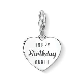 Charm Club Silver Happy Birthday Auntie Heart Charm