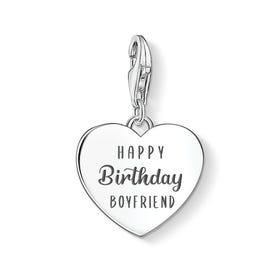 Charm Club Silver Happy Birthday Boyfriend Heart Charm