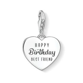Charm Club Silver Happy Birthday Best Friend Heart Charm