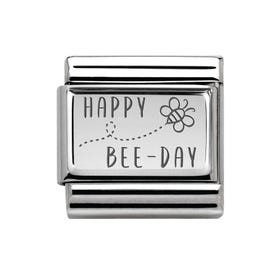 Classic Silver Happy Bee Day Charm