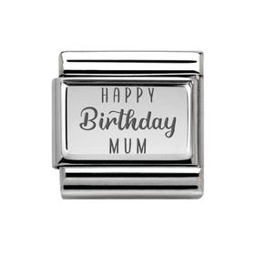 Classic Silver Happy Birthday Mum Charm