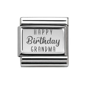 Classic Silver Happy Birthday Grandma Charm