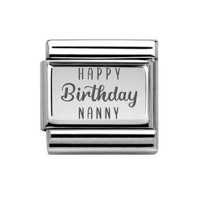 Classic Silver Happy Birthday Nanny Charm