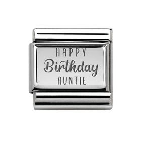 Classic Silver Happy Birthday Auntie Charm