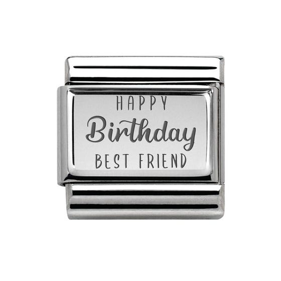 Classic Silver Happy Birthday Best Friend Charm