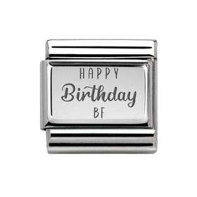 Classic Silver Happy Birthday BF Charm