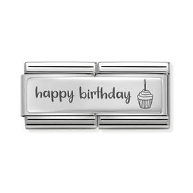 Classic Silver Happy Birthday Cake Double Charm