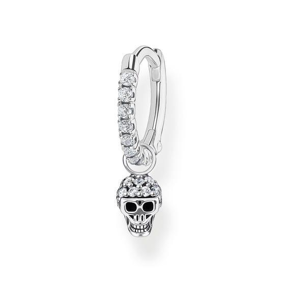 Silver CZ Single Hoop Earring with Skull Pendant