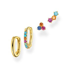 Gold Plated Colourful Stones Stud & Hoop Set