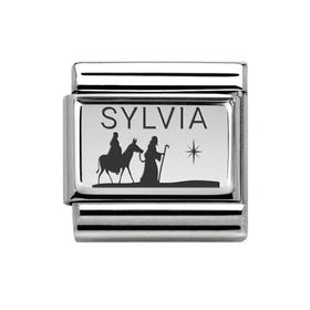 Classic Silver Charm Engraved with Name & Nativity Scene