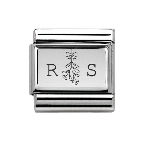 Classic Silver Charm Engraved with Initials & Mistletoe
