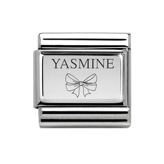 Classic Silver Charm Engraved with Name & Bow