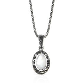 Aurora Marcasite & Mother of Pearl Oval Silver Necklace