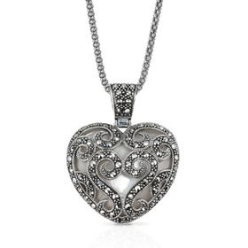 Symbols Marcasite & Mother of Pearl Ornate Heart Silver Necklace