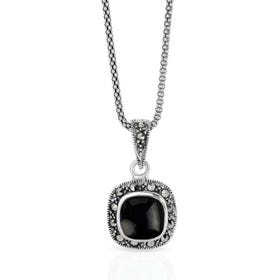 Minerva Marquise & Onyx Square Cushion Silver Necklace