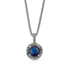 Aurora Marcasite & Sapphire CZ Round Silver Necklace