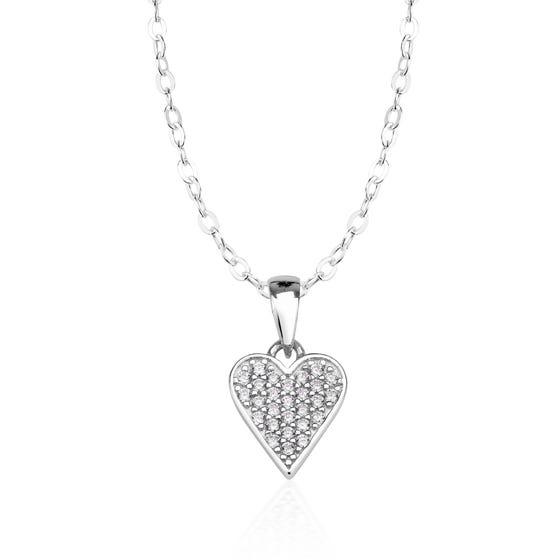 Children's Silver & CZ Heart Necklace