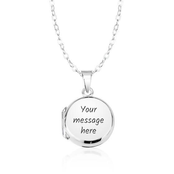 Children's Silver Small Round Locket Necklace