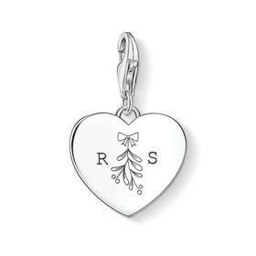Charm Club Silver Initials & Mistletoe Heart Charm