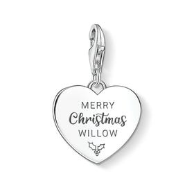 Charm Club Silver Personalised Merry Christmas Heart Charm