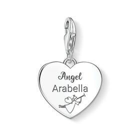 Charm Club Silver Personalised Angel Heart Charm