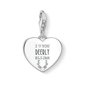 Charm Club Silver Personalised I Love You Deerly Heart Charm