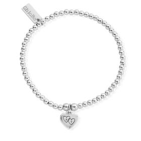 Silver Heart Initials Cute Charm Heart Bracelet