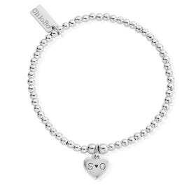 Silver Carved Initials Cute Charm Heart Bracelet