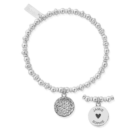 Silver Two Names Didi Sparkle Moon Flower Bracelet