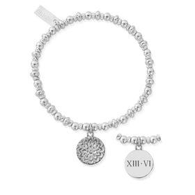 Silver Roman Numeral Date Didi Sparkle Moon Flower Bracelet